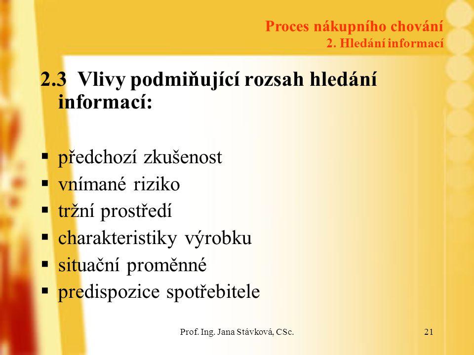 Prof. Ing. Jana Stávková, CSc.