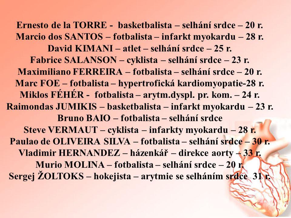 Ernesto de la TORRE - basketbalista – selhání srdce – 20 r.