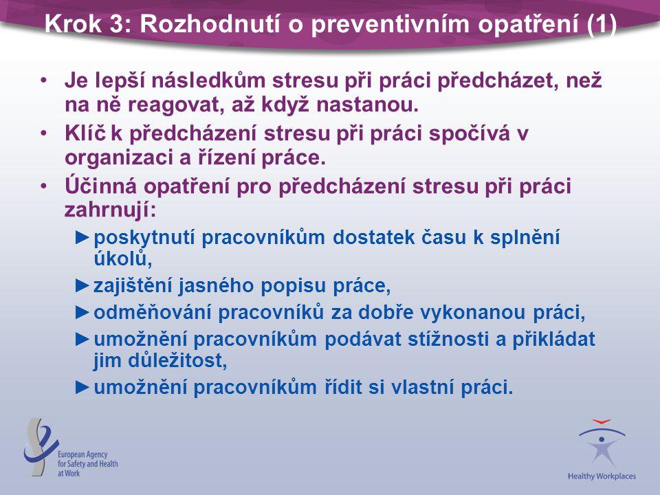 Krok 3: Rozhodnutí o preventivním opatření (1)