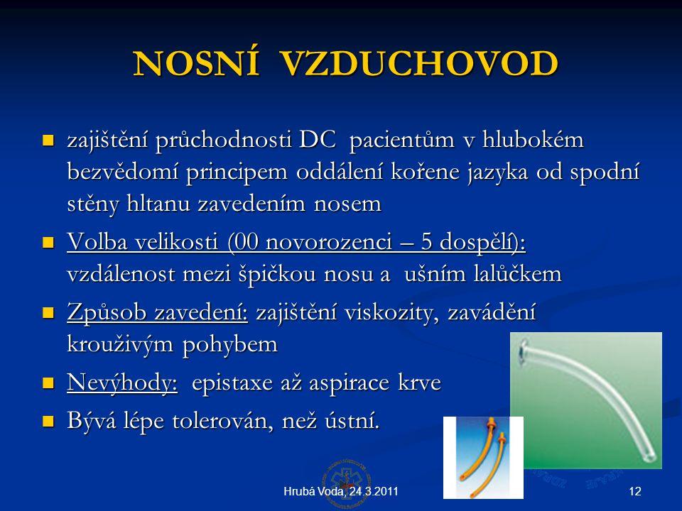 NOSNÍ VZDUCHOVOD zajištění průchodnosti DC pacientům v hlubokém bezvědomí principem oddálení kořene jazyka od spodní stěny hltanu zavedením nosem.