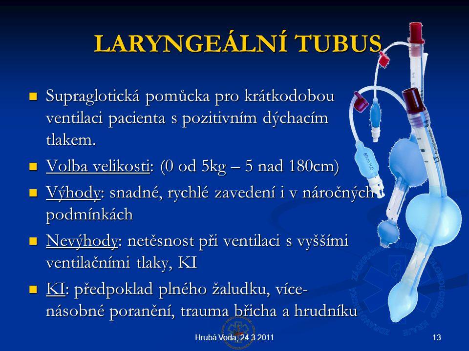 LARYNGEÁLNÍ TUBUS Supraglotická pomůcka pro krátkodobou ventilaci pacienta s pozitivním dýchacím tlakem.