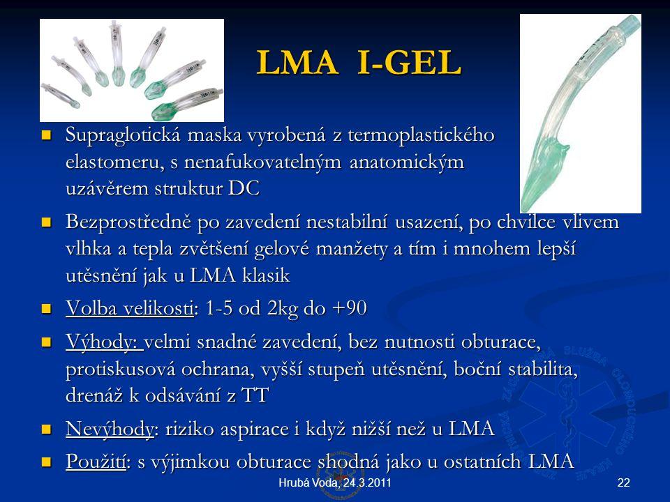 LMA I-GEL Supraglotická maska vyrobená z termoplastického elastomeru, s nenafukovatelným anatomickým uzávěrem struktur DC.