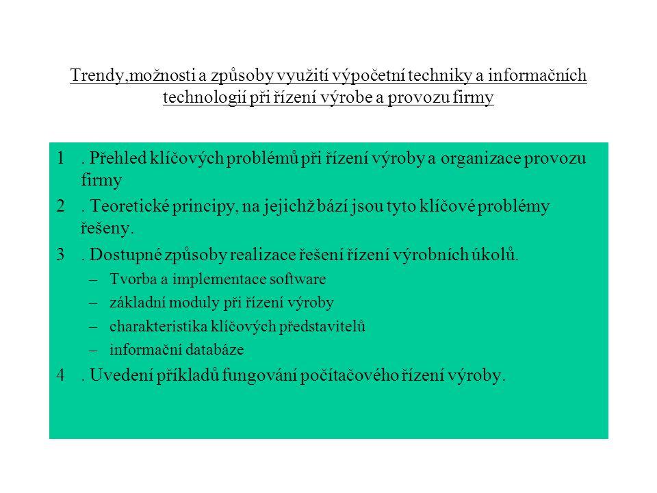 . Dostupné způsoby realizace řešení řízení výrobních úkolů.
