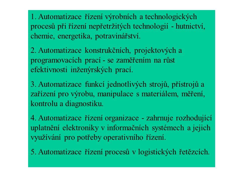 . Automatizace řízení výrobních a technologických procesů při řízení nepřetržitých technologií - hutnictví, chemie, energetika, potravinářství.