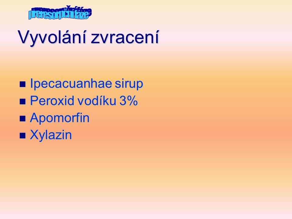 Vyvolání zvracení Ipecacuanhae sirup Peroxid vodíku 3% Apomorfin
