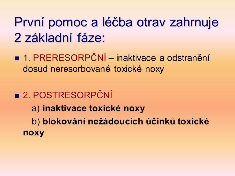 První pomoc a léčba otrav zahrnuje 2 základní fáze:
