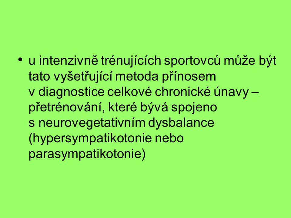 u intenzivně trénujících sportovců může být tato vyšetřující metoda přínosem v diagnostice celkové chronické únavy – přetrénování, které bývá spojeno s neurovegetativním dysbalance (hypersympatikotonie nebo parasympatikotonie)