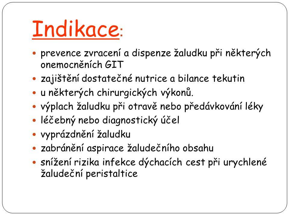 Indikace: prevence zvracení a dispenze žaludku při některých onemocněních GIT. zajištění dostatečné nutrice a bilance tekutin.