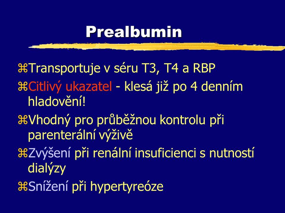 Prealbumin Transportuje v séru T3, T4 a RBP