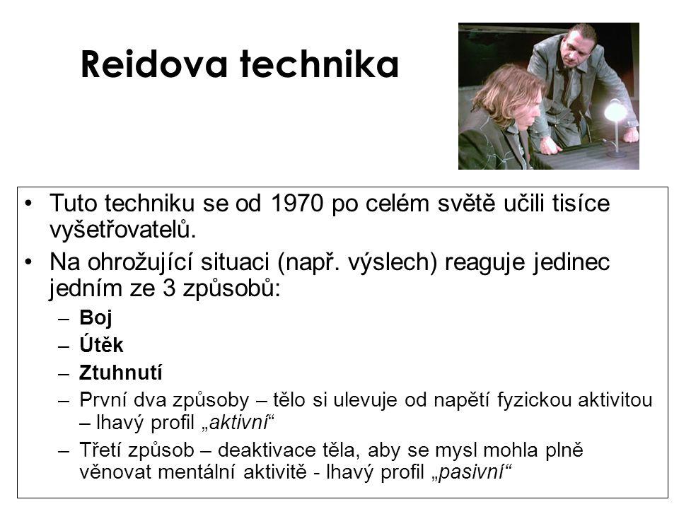 Reidova technika Tuto techniku se od 1970 po celém světě učili tisíce vyšetřovatelů.