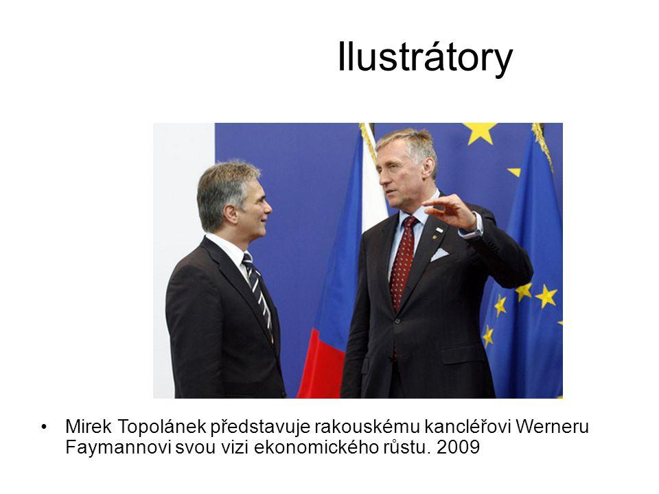 Ilustrátory Mirek Topolánek představuje rakouskému kancléřovi Werneru Faymannovi svou vizi ekonomického růstu.