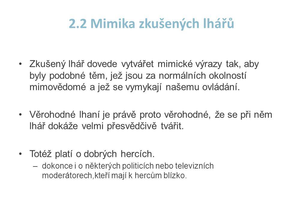 2.2 Mimika zkušených lhářů