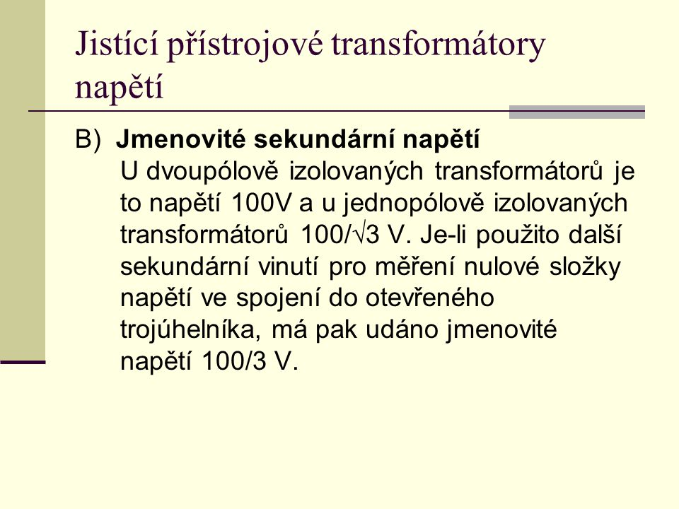 Jistící přístrojové transformátory napětí