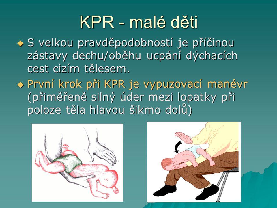 KPR - malé děti S velkou pravděpodobností je příčinou zástavy dechu/oběhu ucpání dýchacích cest cizím tělesem.