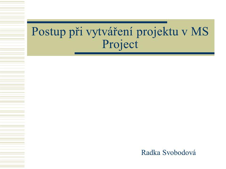 Postup při vytváření projektu v MS Project