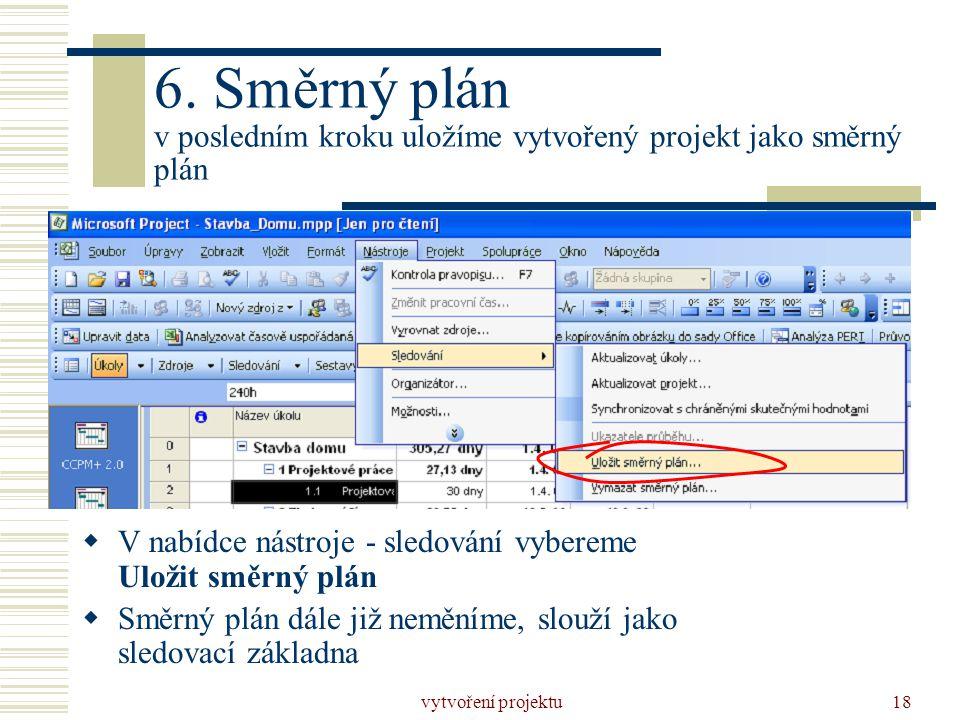 6. Směrný plán v posledním kroku uložíme vytvořený projekt jako směrný plán