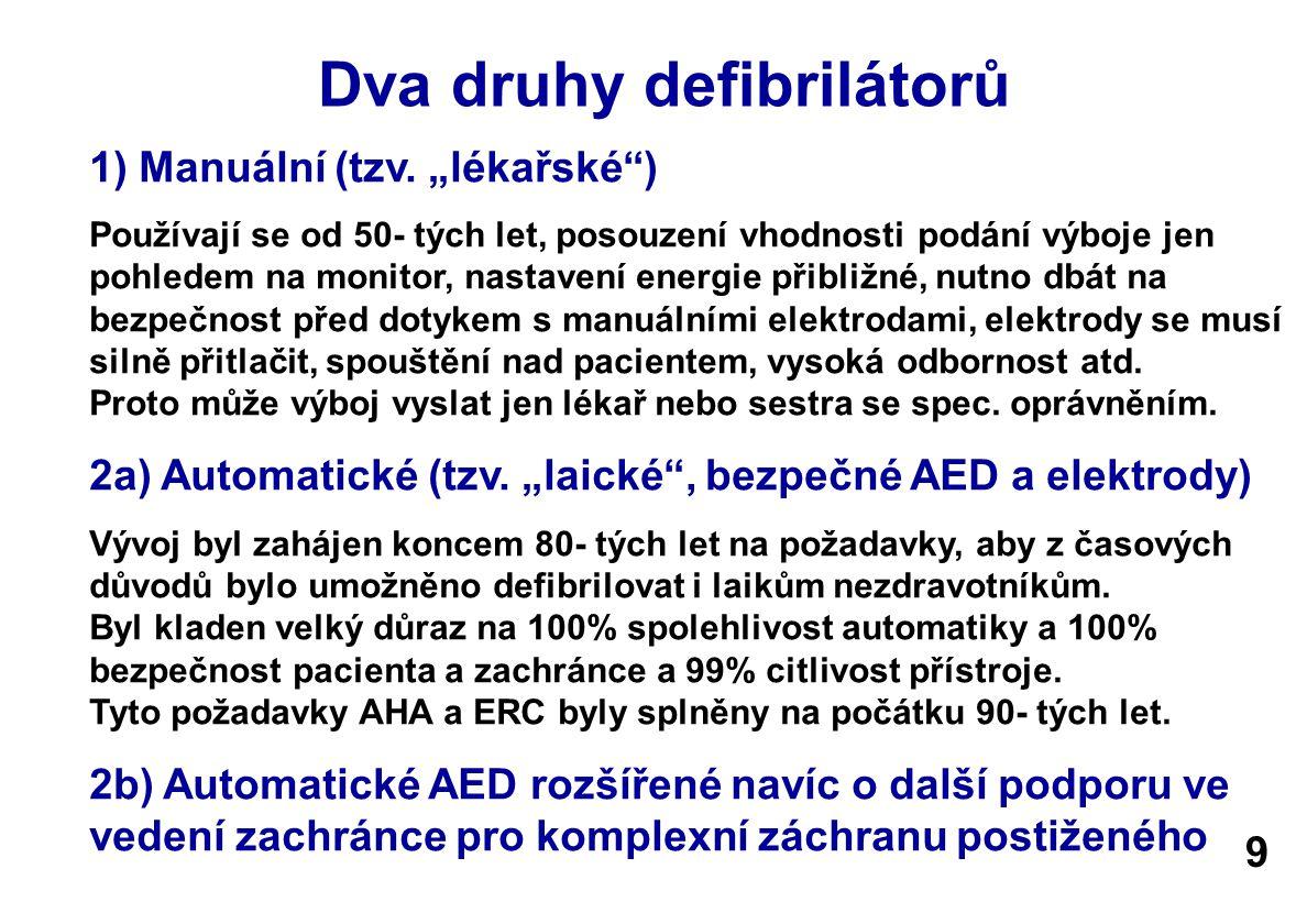 Dva druhy defibrilátorů