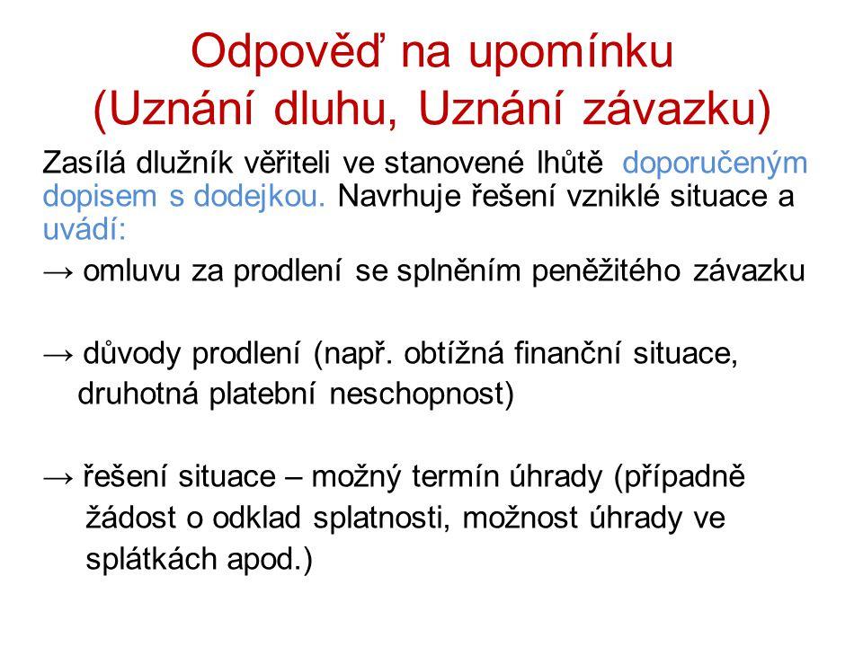 Odpověď na upomínku (Uznání dluhu, Uznání závazku)