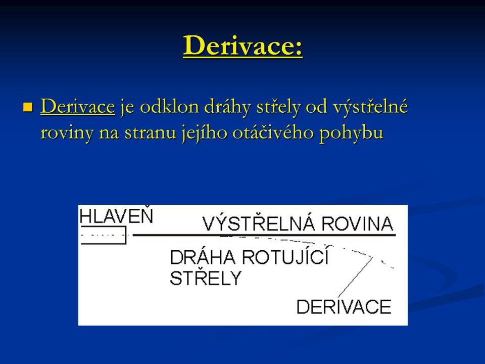 Derivace: Derivace je odklon dráhy střely od výstřelné roviny na stranu jejího otáčivého pohybu.