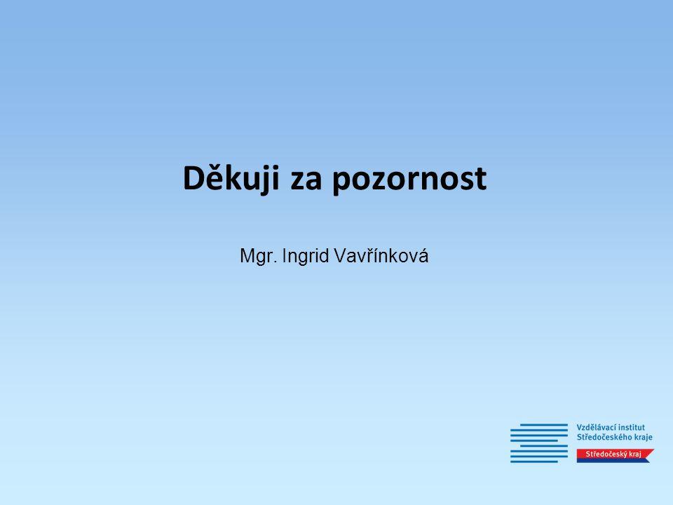 Děkuji za pozornost Mgr. Ingrid Vavřínková