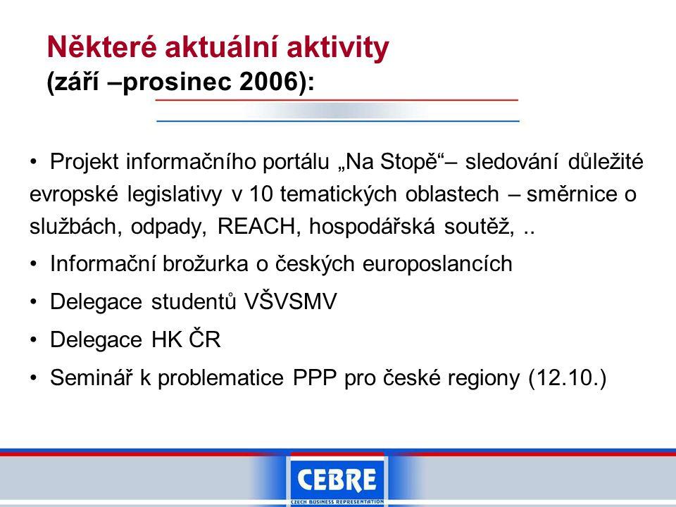 Některé aktuální aktivity (září –prosinec 2006):