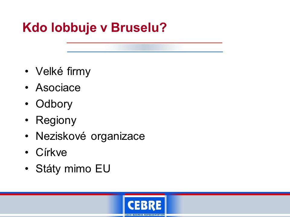 Kdo lobbuje v Bruselu Velké firmy Asociace Odbory Regiony