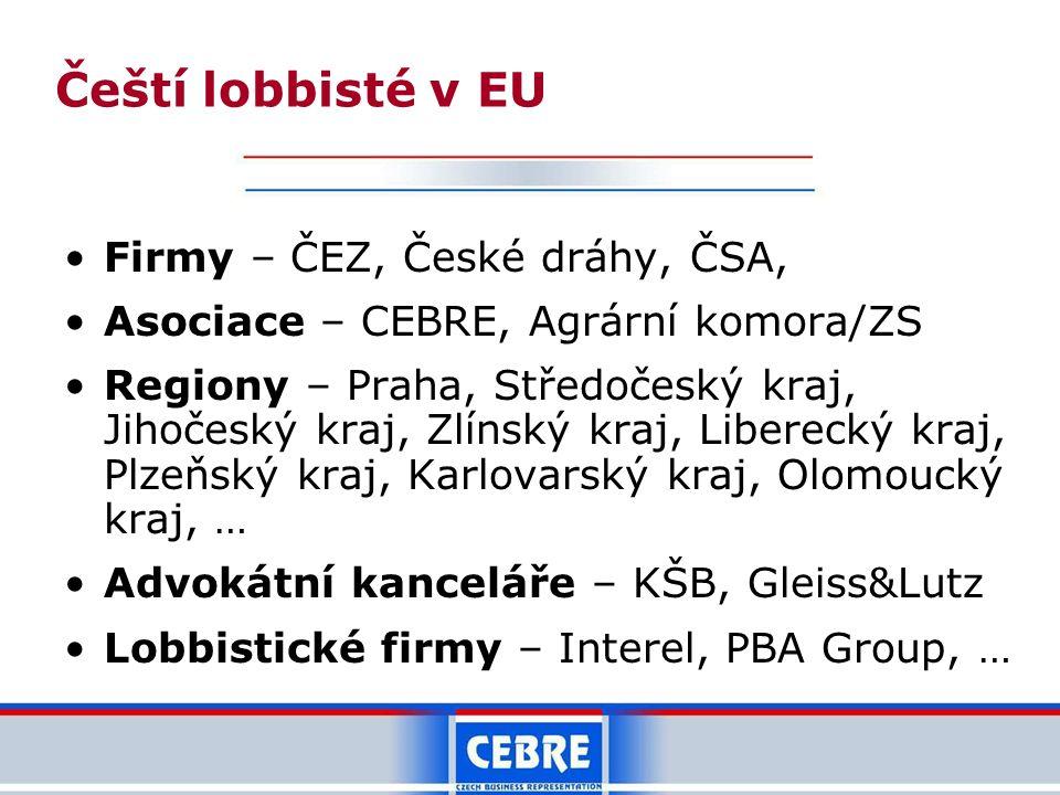 Čeští lobbisté v EU Firmy – ČEZ, České dráhy, ČSA,