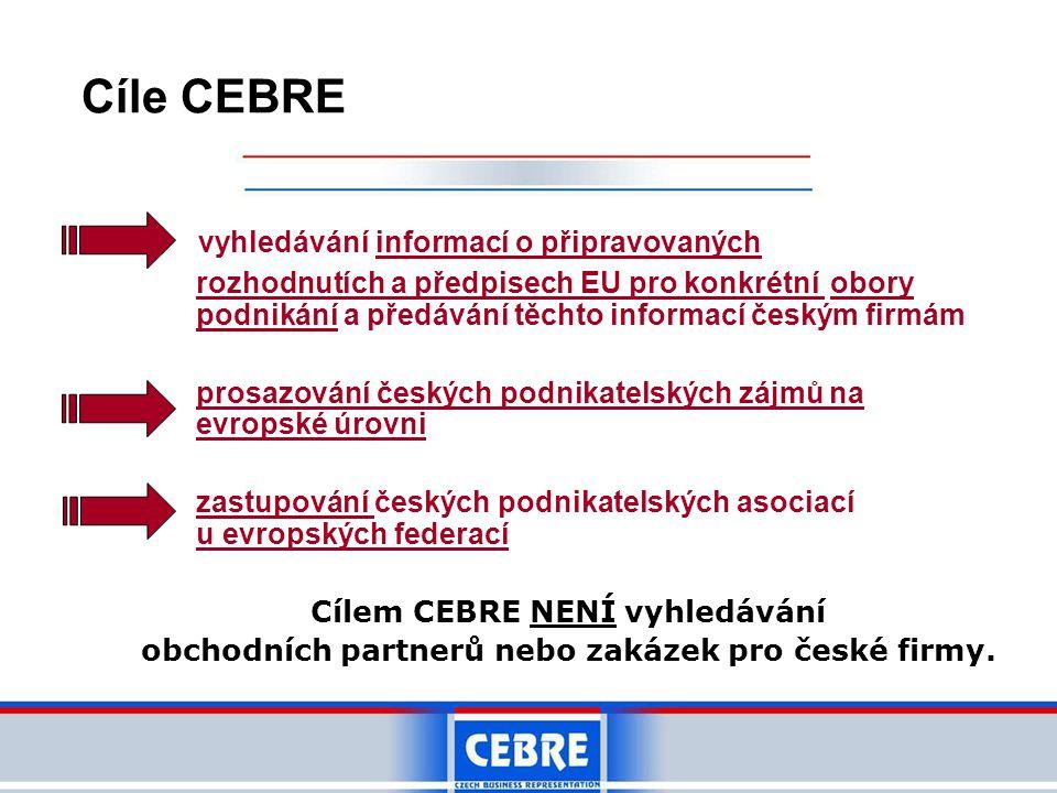 Cíle CEBRE vyhledávání informací o připravovaných