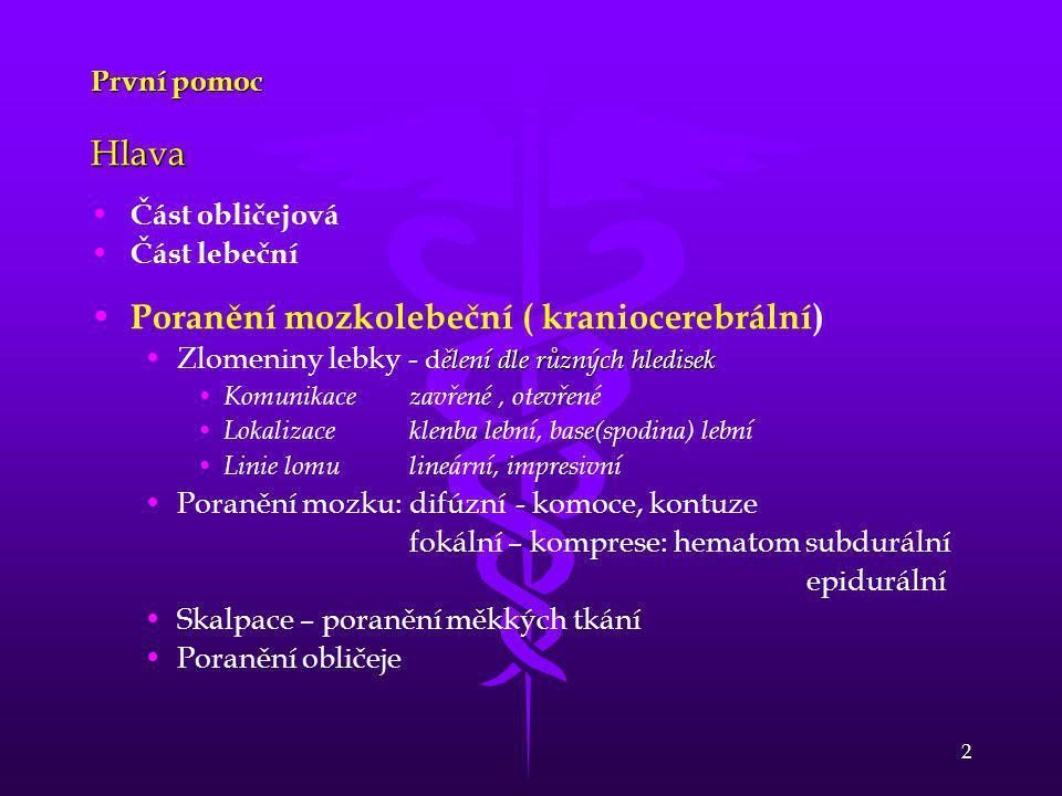 Poranění mozkolebeční ( kraniocerebrální)
