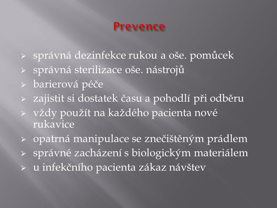 Prevence správná dezinfekce rukou a oše. pomůcek