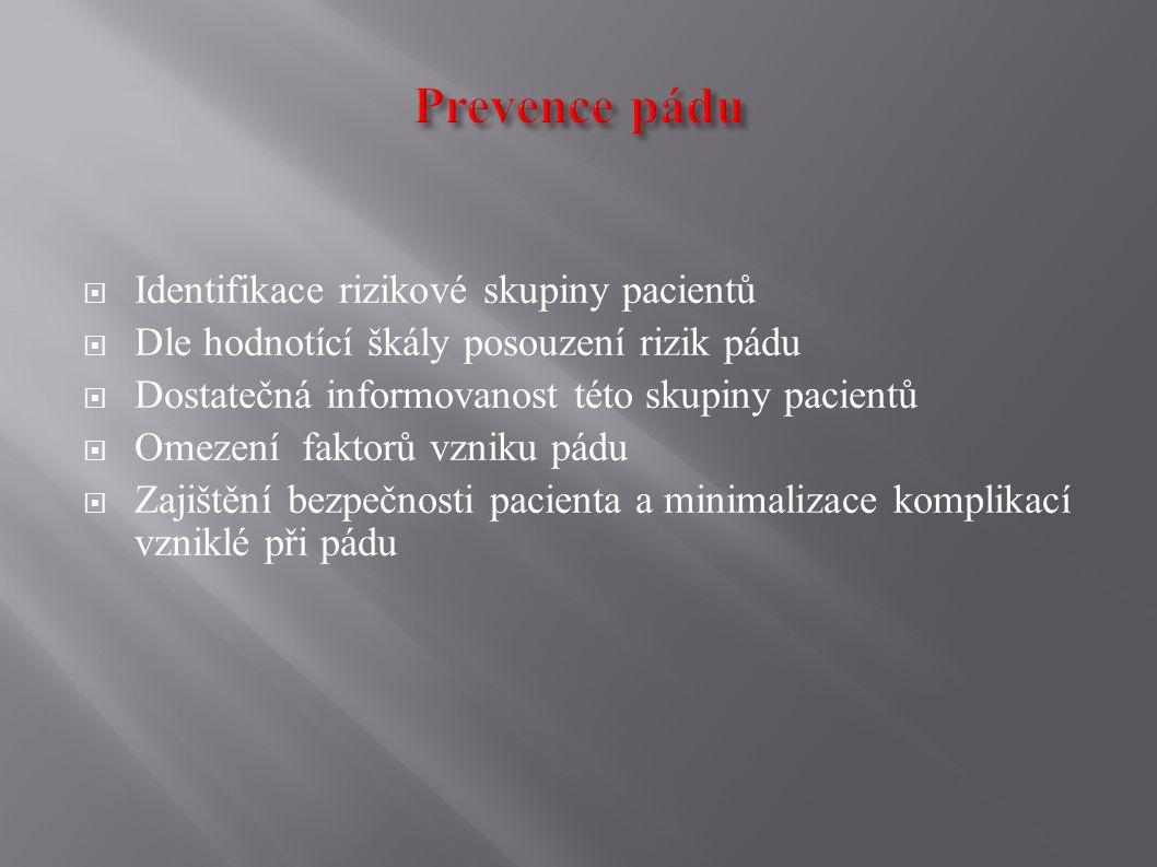 Prevence pádu Identifikace rizikové skupiny pacientů