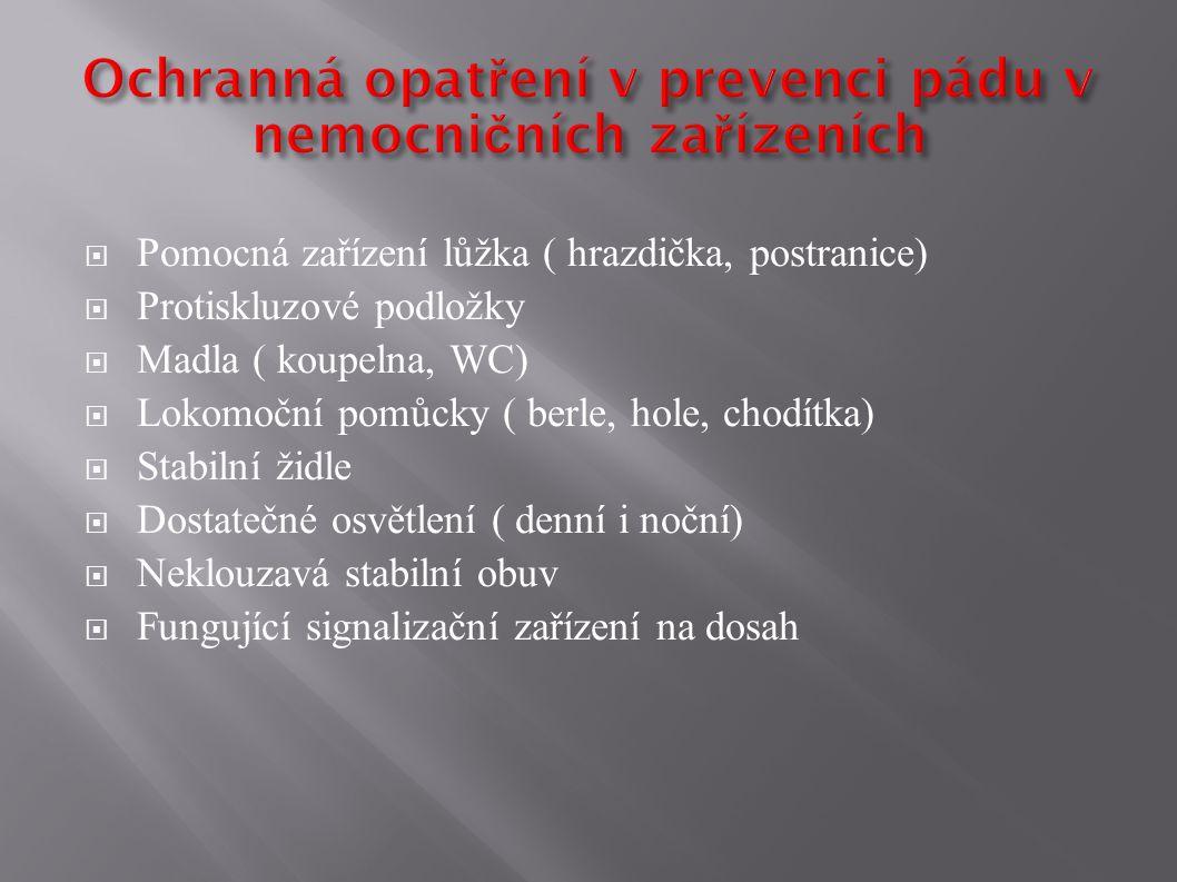 Ochranná opatření v prevenci pádu v nemocničních zařízeních