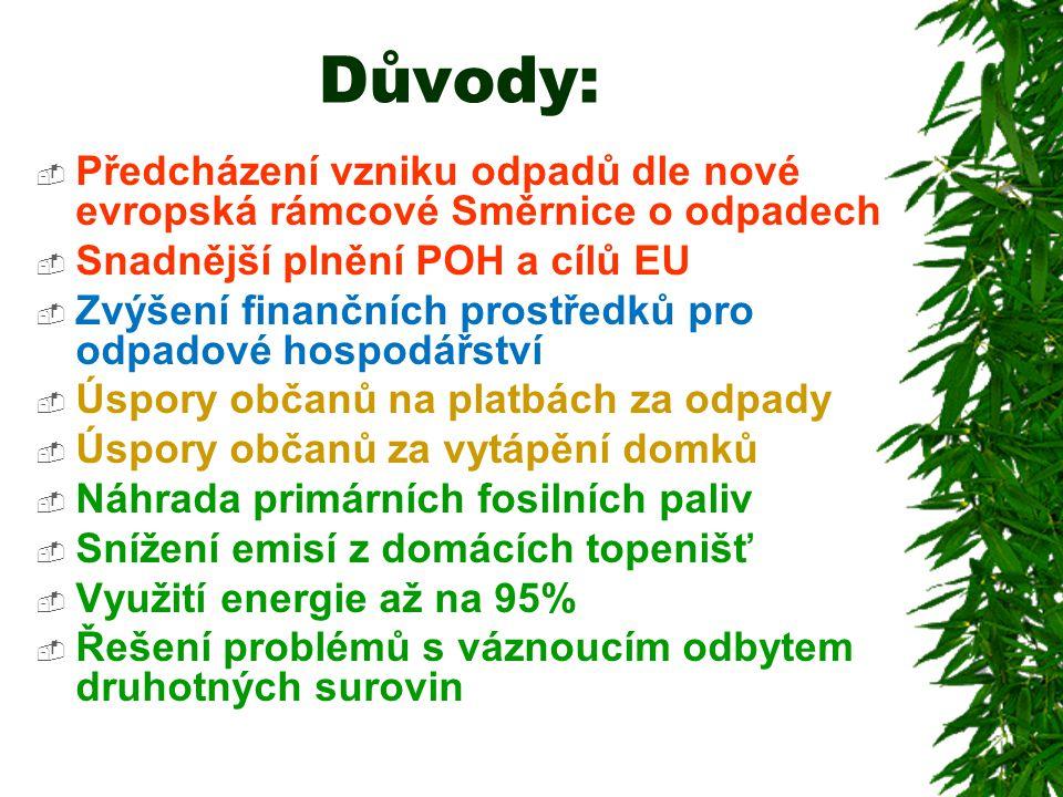 Důvody: Předcházení vzniku odpadů dle nové evropská rámcové Směrnice o odpadech. Snadnější plnění POH a cílů EU.