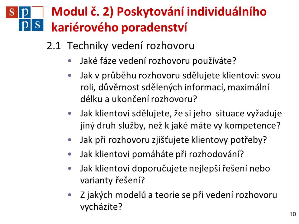 Modul č. 2) Poskytování individuálního kariérového poradenství