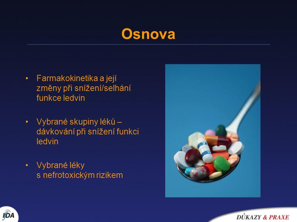 Osnova Farmakokinetika a její změny při snížení/selhání funkce ledvin