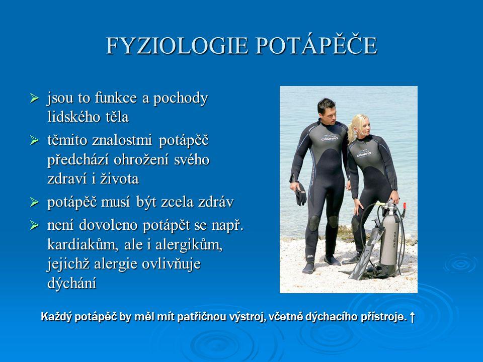 FYZIOLOGIE POTÁPĚČE jsou to funkce a pochody lidského těla