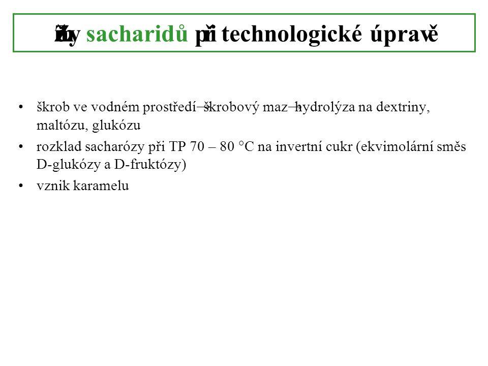 Změny sacharidů při technologické úpravě