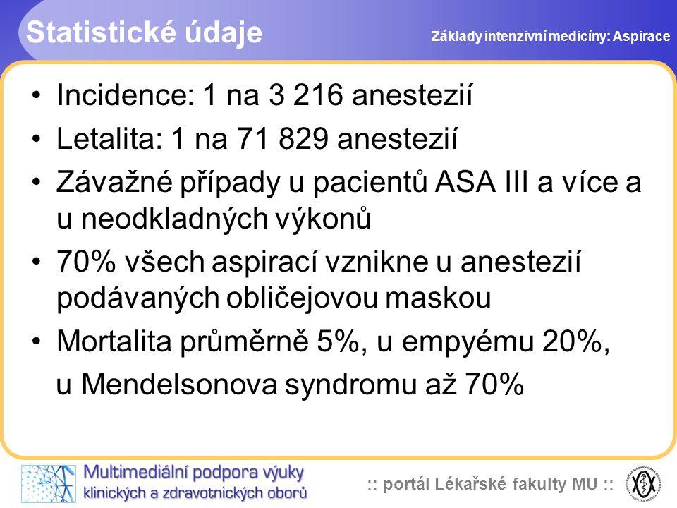 Incidence: 1 na 3 216 anestezií Letalita: 1 na 71 829 anestezií