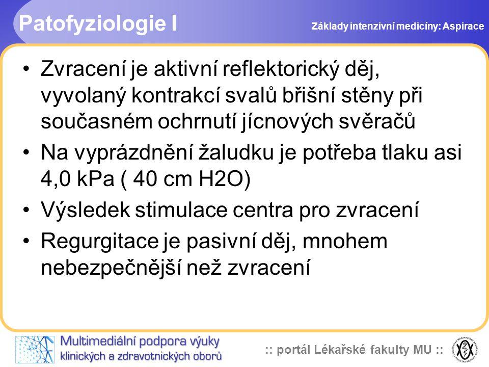 Na vyprázdnění žaludku je potřeba tlaku asi 4,0 kPa ( 40 cm H2O)