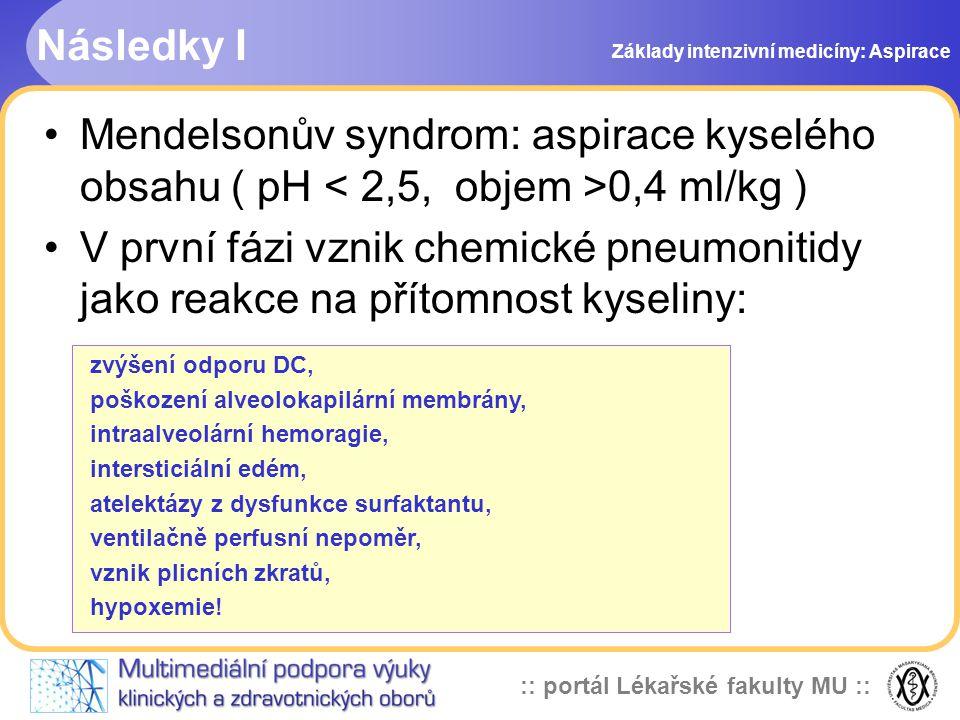 Následky I Základy intenzivní medicíny: Aspirace. Mendelsonův syndrom: aspirace kyselého obsahu ( pH < 2,5, objem >0,4 ml/kg )