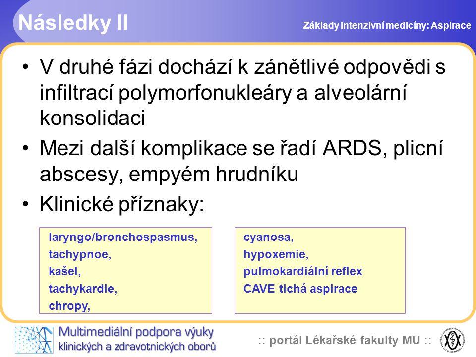 Mezi další komplikace se řadí ARDS, plicní abscesy, empyém hrudníku