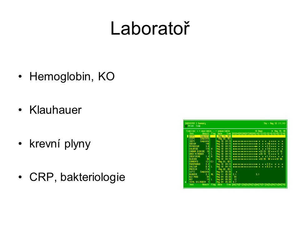 Laboratoř Hemoglobin, KO Klauhauer krevní plyny CRP, bakteriologie
