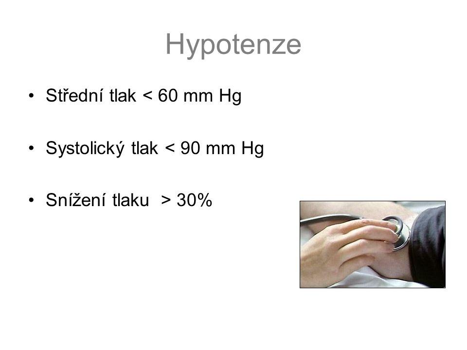 Hypotenze Střední tlak < 60 mm Hg Systolický tlak < 90 mm Hg