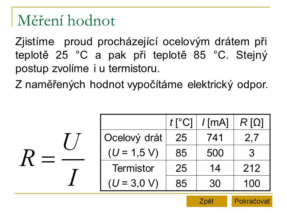 Měření hodnot Zjistíme proud procházející ocelovým drátem při teplotě 25 °C a pak při teplotě 85 °C. Stejný postup zvolíme i u termistoru.