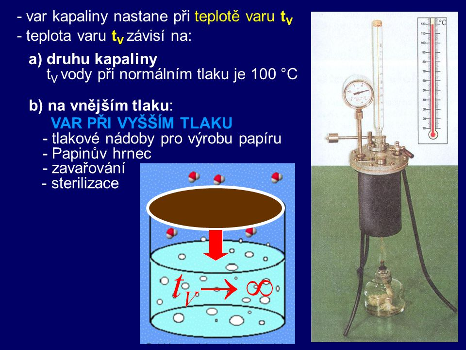 - var kapaliny nastane při teplotě varu tV