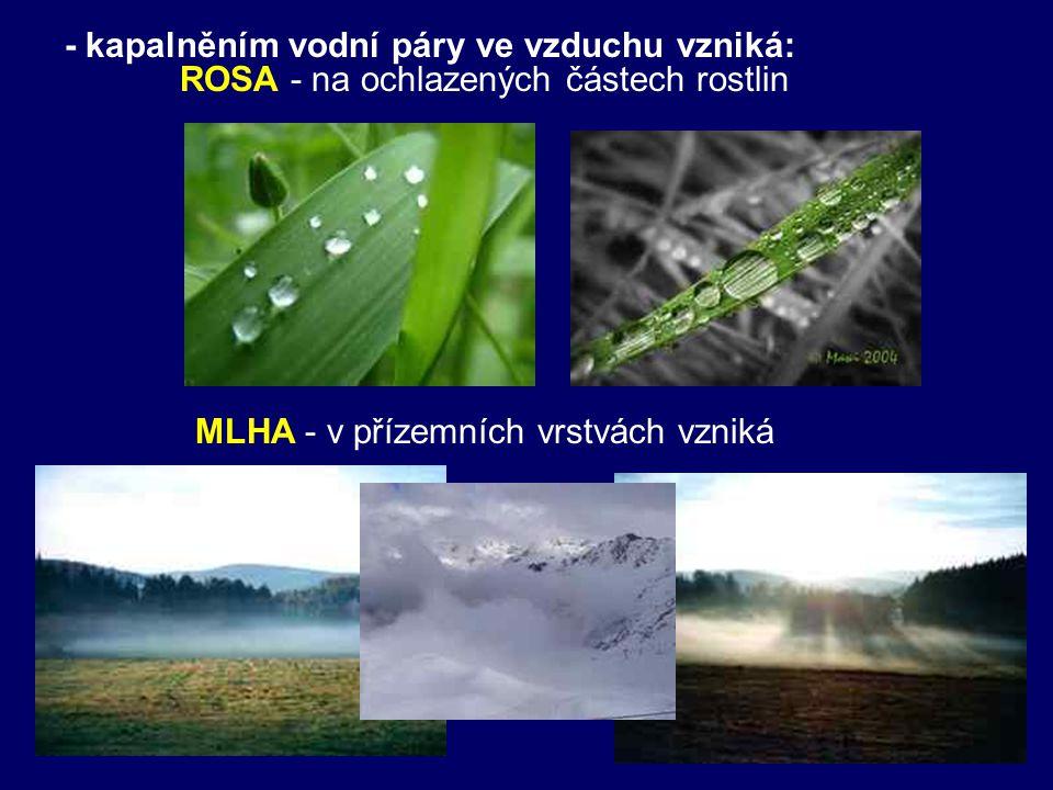 - kapalněním vodní páry ve vzduchu vzniká: