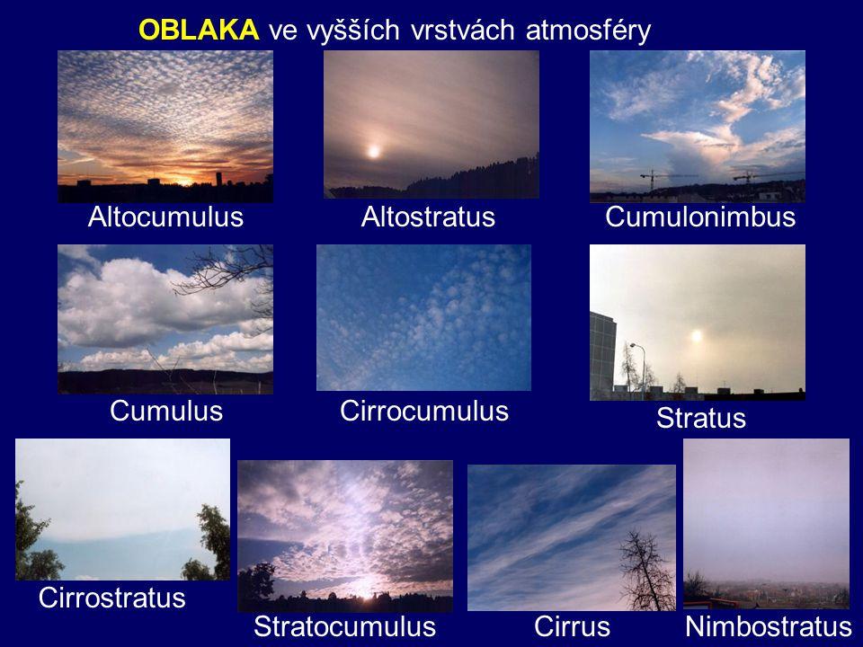 OBLAKA ve vyšších vrstvách atmosféry
