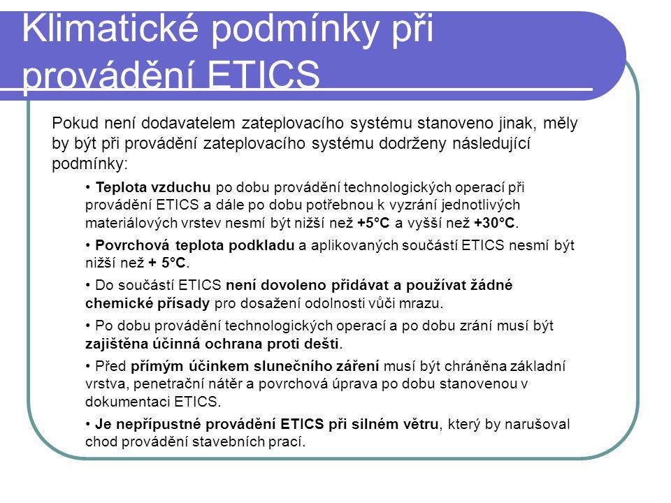 Klimatické podmínky při provádění ETICS