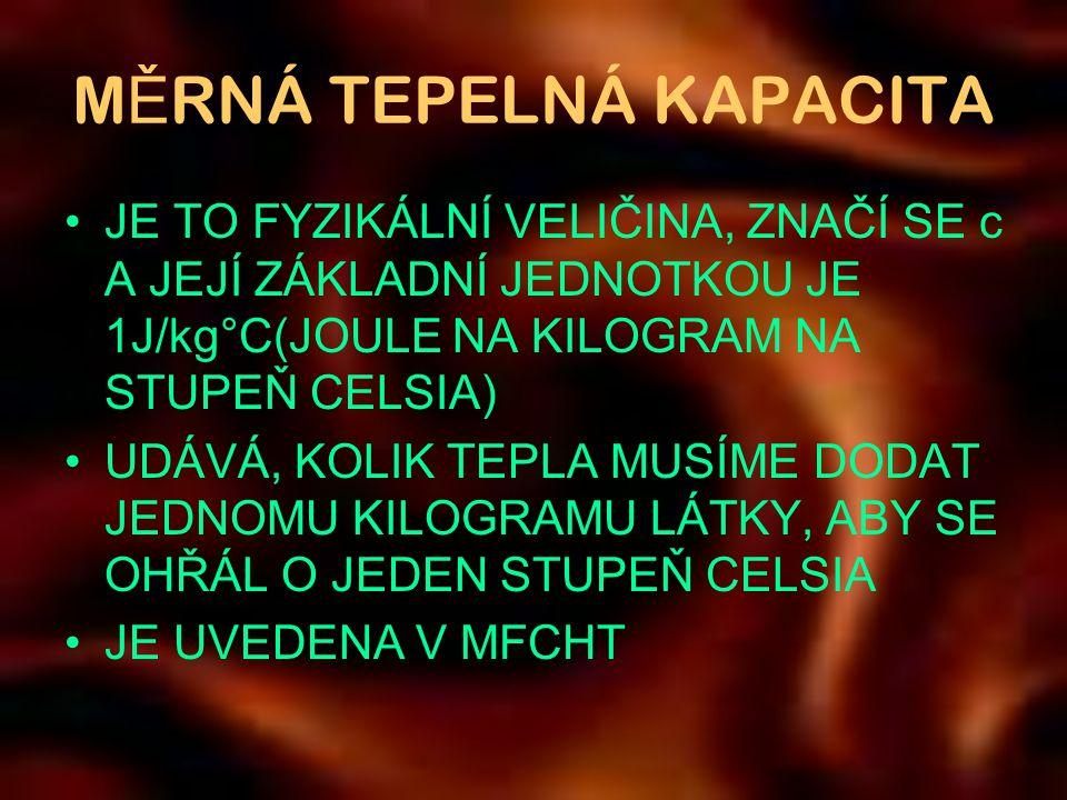 MĚRNÁ TEPELNÁ KAPACITA
