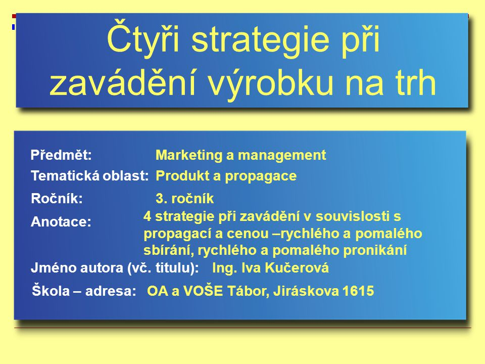 Čtyři strategie při zavádění výrobku na trh